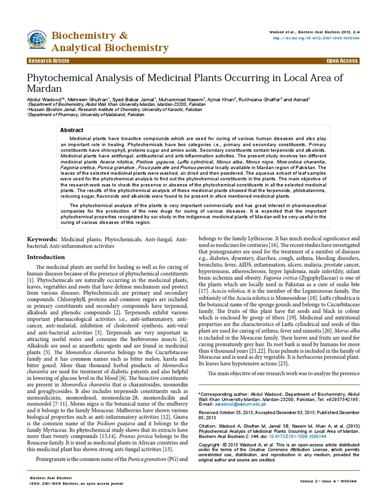 Phytochemical Analysis of Medicinal Plants Occurring in Local Area of  Mardan 2161 1009.1000144 | Flavonoid | Herbalism