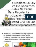 Ley Que Modifica La Ley Orgánica de Gobiernos Regionales