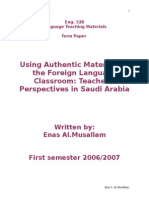 Using Authentic Materials in the Foreign Language Classroom Teachers' Perspectives in Saudi Arabia