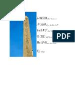 Heliopolis Obelisk Transliteration