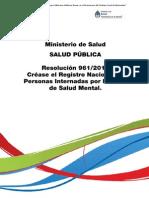 Créase RESAM - Resolución 961/2013