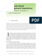 Corporate Brand Management Imperatives; Custodianship, Credibility and Calibration