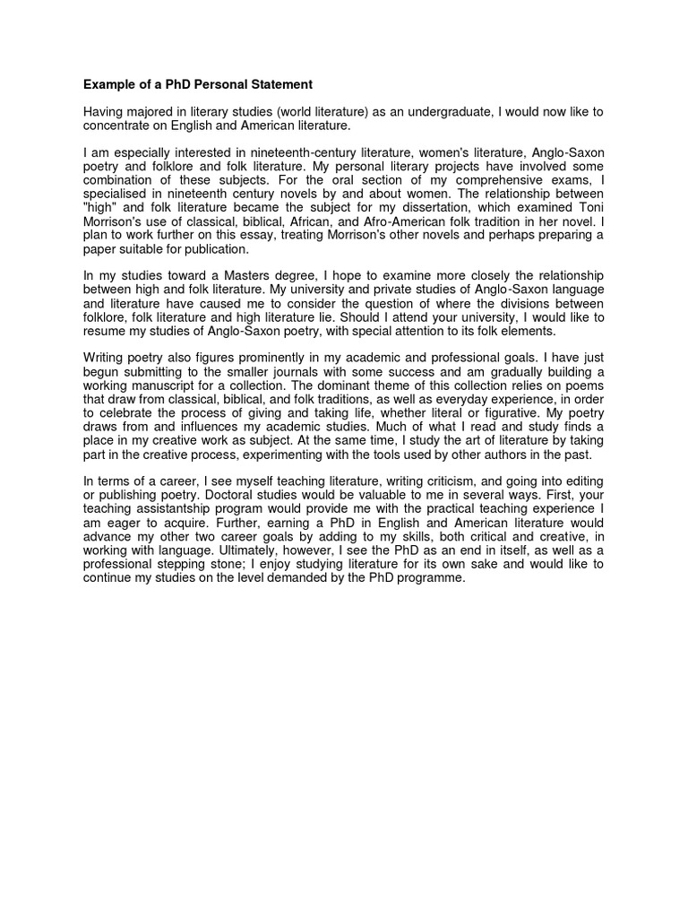 cheap phd personal statement examples