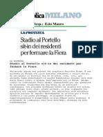Progetto riqualificazione quartiere Portello Milano - Proteste contro Fondazione Fiera