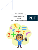 Expressions and Equations Unit Plan