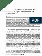 Eduardo Restrepo, Politicas de alteridad, etnización de comunidad negar en el Pacífico sur colombiano