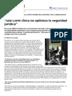 """Página_12 __ El País __ """"Una Corte Chica No Optimiza La Seguridad Jurídica"""""""