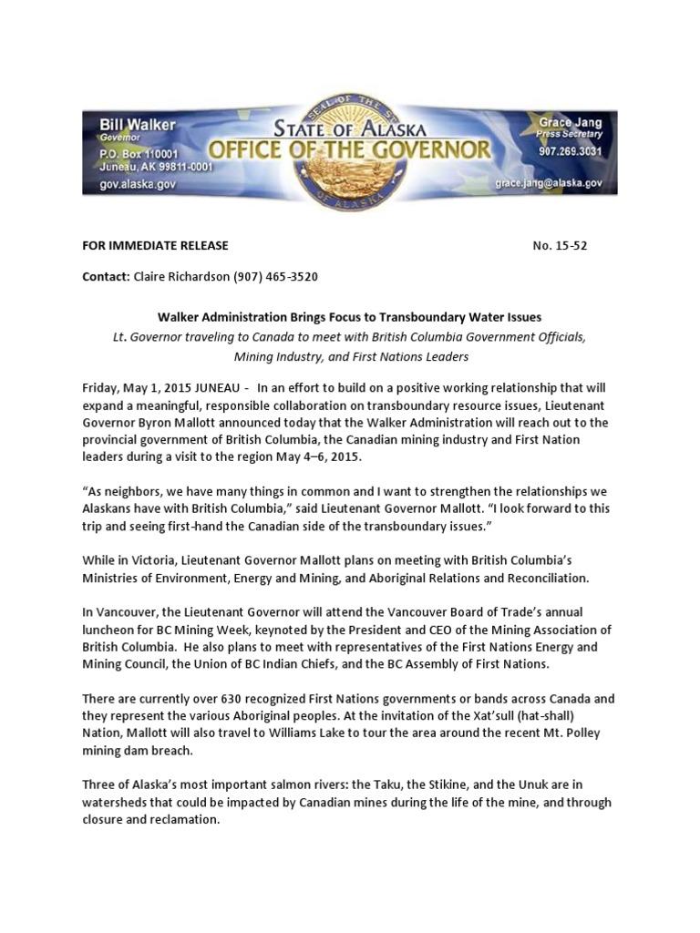 Mallott to visit British Columbia on transboundary issues   British