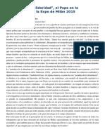 Francisco- Discurso en La Expo-Milán 2015 1-4-15 Globalizar La Solidaridad