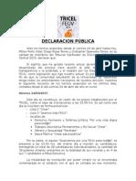 Declaración Pública TRICEL FEUV-Casa Central 2015