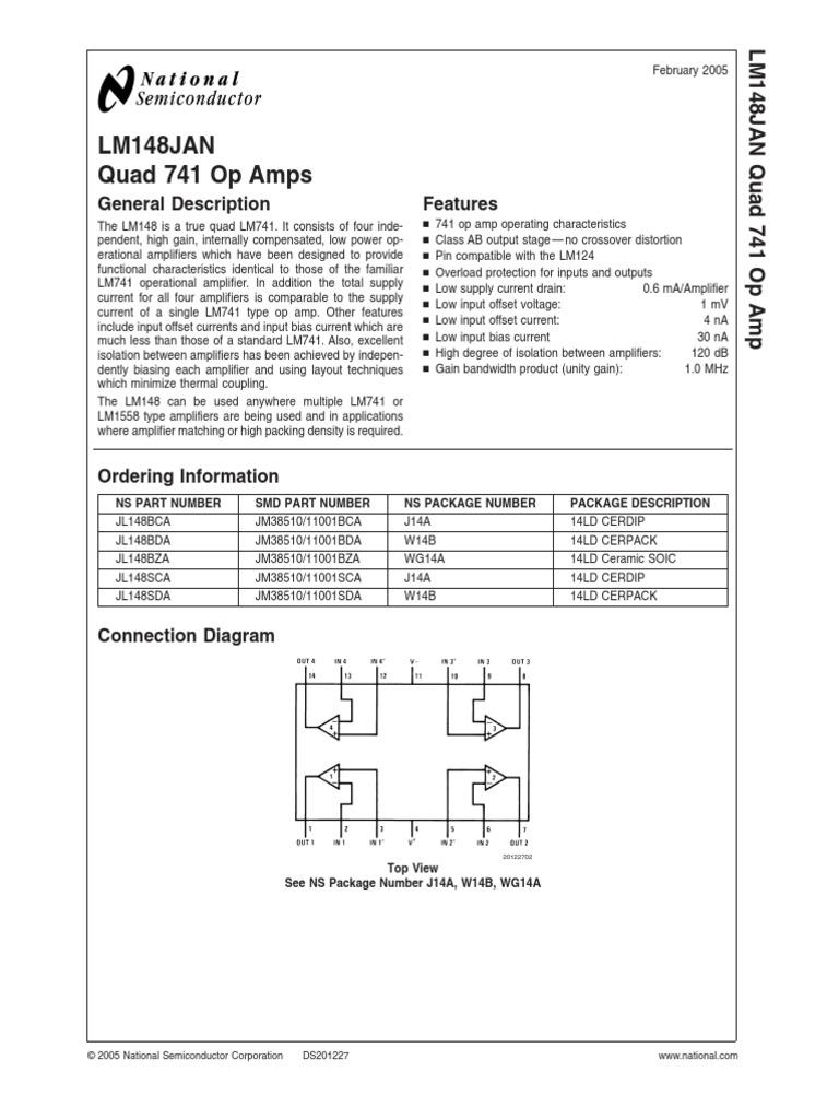 Lm148jan Operational Amplifier Op Amp Internal Schematic Diagram Lm741
