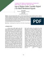 Efficient Design of Higher Order Variable Digital Filter for Multi Modulated Signals
