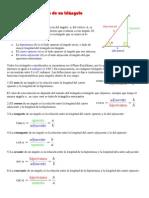 Definiciones respecto de un triángulo rectángulo