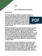 Mr Mcebo Dlamini is no longer President or a member of the Students' Representative Council (SRC)