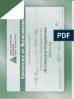 ja certificate of achievement 2014 to 2015
