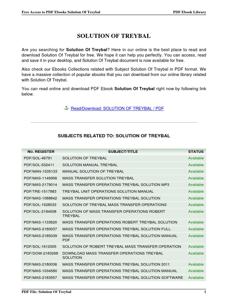 solution of treybal rh scribd com mass transfer operations treybal 3rd edition solution manual mass transfer operations by robert e treybal solution manual pdf