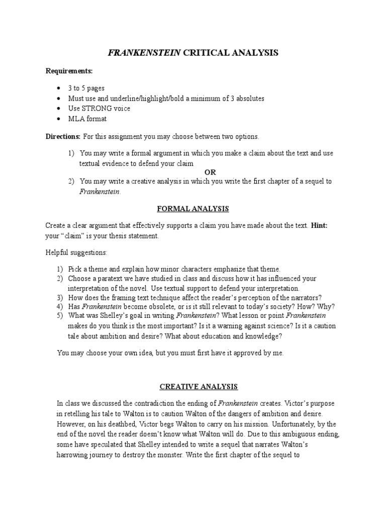 Frankenstein Critical Analysis  Frankenstein  Argument  The Newspaper Essay also Compare Contrast Essay Papers  Best Business School Essays