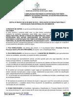 Edital 008 - Resultado Final Processo Seletivo 001/2015
