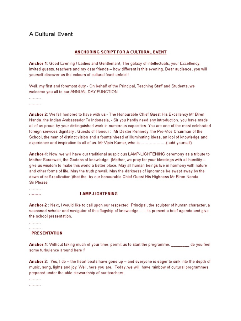 anchoring script for a cultural event