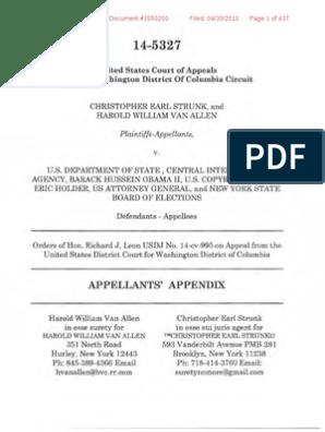 USCA DCC 14-5327 Strunk Et Al v DOS Et Al Appellant Brief