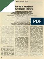 Estética de La Recepción y Comunicación Literaria - Jauss