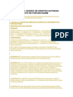 Contrato de Cessão de Direitos Autorais Por Pagamento de Porcentagem