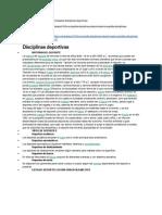 Historia y Descripción de Las Principales Disciplinas Deportivas