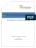 WLMA - Certified Teacher-Librarians, Library Quality and Student Achievement in Washington State Public Schools