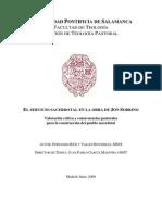 RÍOS Y VALLÉS, FERNANDO El Servicio Sacerdotal en La Obra de Jon Sobrino