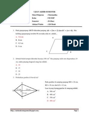 Soal Uas Matematika Kelas 7 Smp Kur 2013