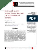 Icono14. Nº14. El uso de los blogs entre los profesores de periodismo en España