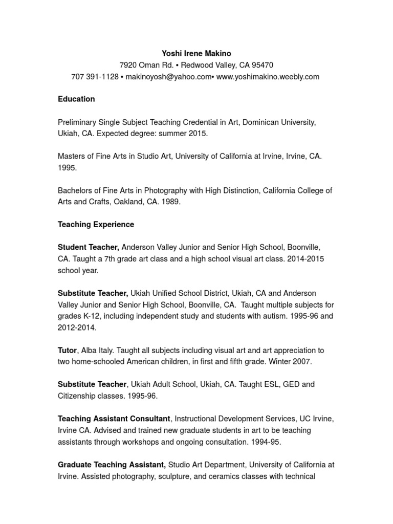 Resume 2014 Teaching Word Teaching Assistant California