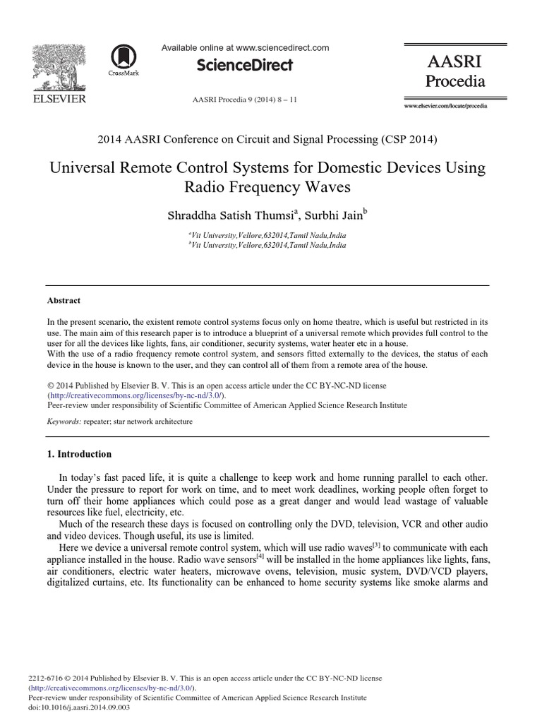 Universal Remote Control Systems For Domestic Devices Using Radio Circuit Frequency Waves 2014 Aasri Procedia Home Appliance