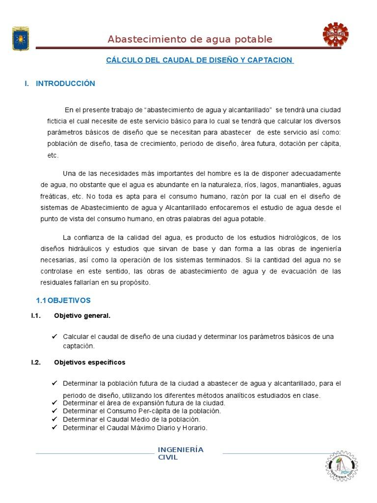informe de dotacion y poblacion para un sistema de abastecimiento de ...