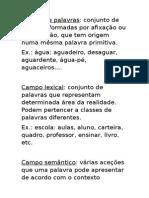 Família de Palavras, Campo Semântico, Campo Lexical