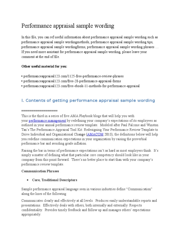 Performance Appraisal Sample Wording – Performance Appraisals Samples