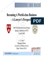 20050402【CVCHEN@NTU/Harvard】-Becoming A World-Class Business- A Lawyer's Perspective