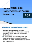 Management and Conservation of Natural Resources
