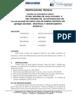 Especificaciones Tecnicas Agua Potable de Quisqui