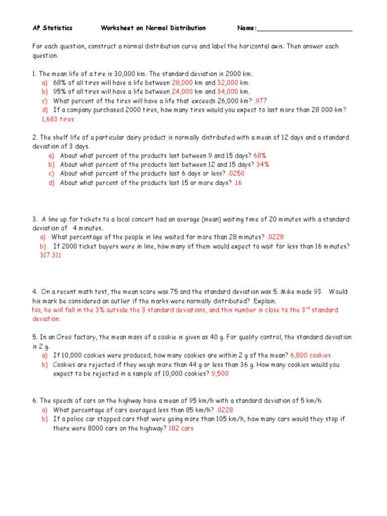 Math 10 Worksheet On Normal Distribution Answers - Kidz Activities
