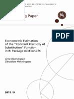 Econometric Estimation CES