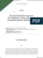 Reseña Del v. 1 de El Capital Para El Demokratisches Wochenblatt.