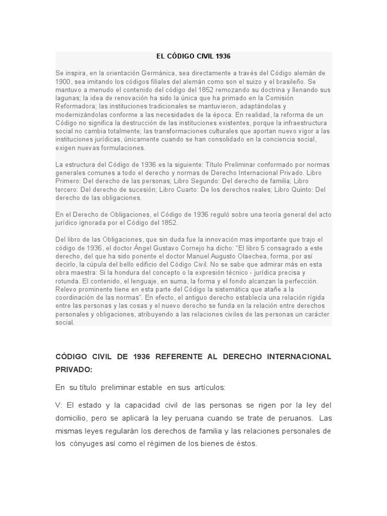 El Código Civil 1936