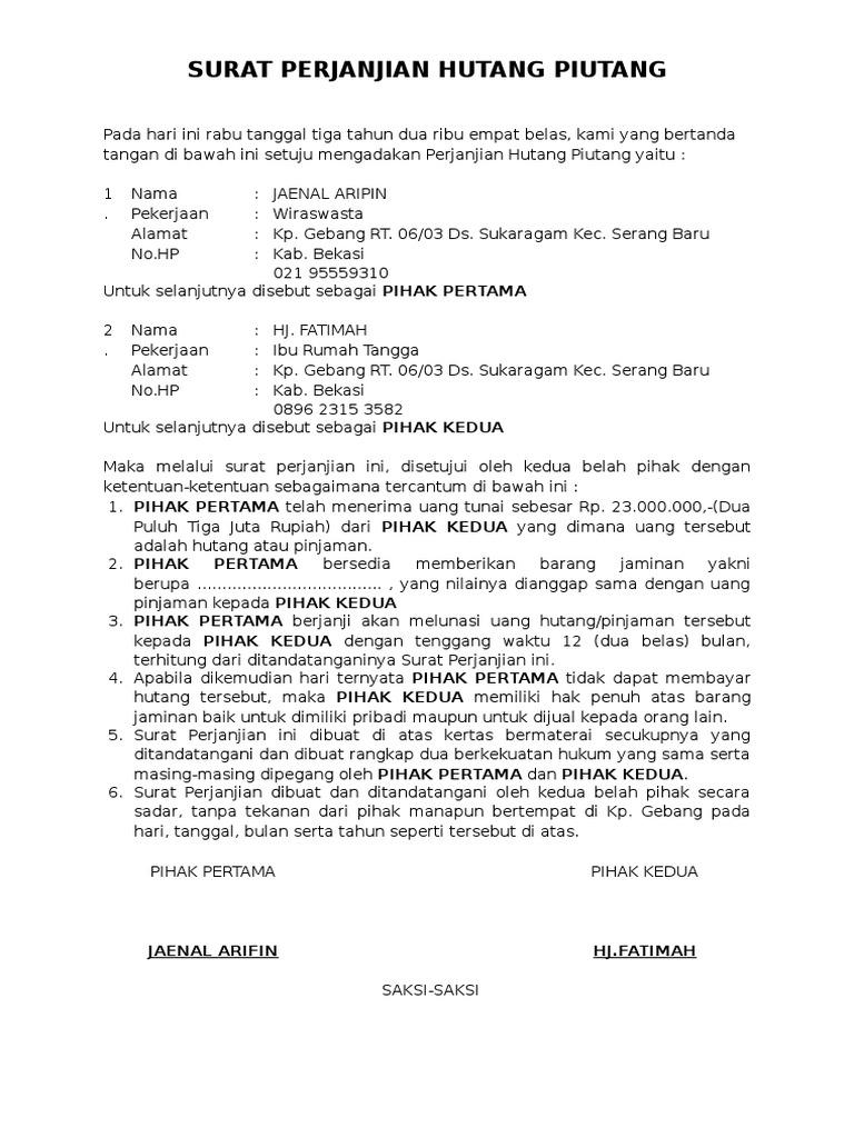 Contoh Surat Pernyataan Pembayaran Hutang Surat Buku Brosur
