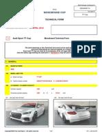 Audi Sport TT Cup Homologation Specifications