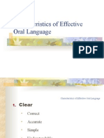Characteristics of Effective Oral Language