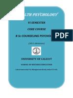 B Sc Counselling Psychology - VI Sem. Core Course - Health Psychology