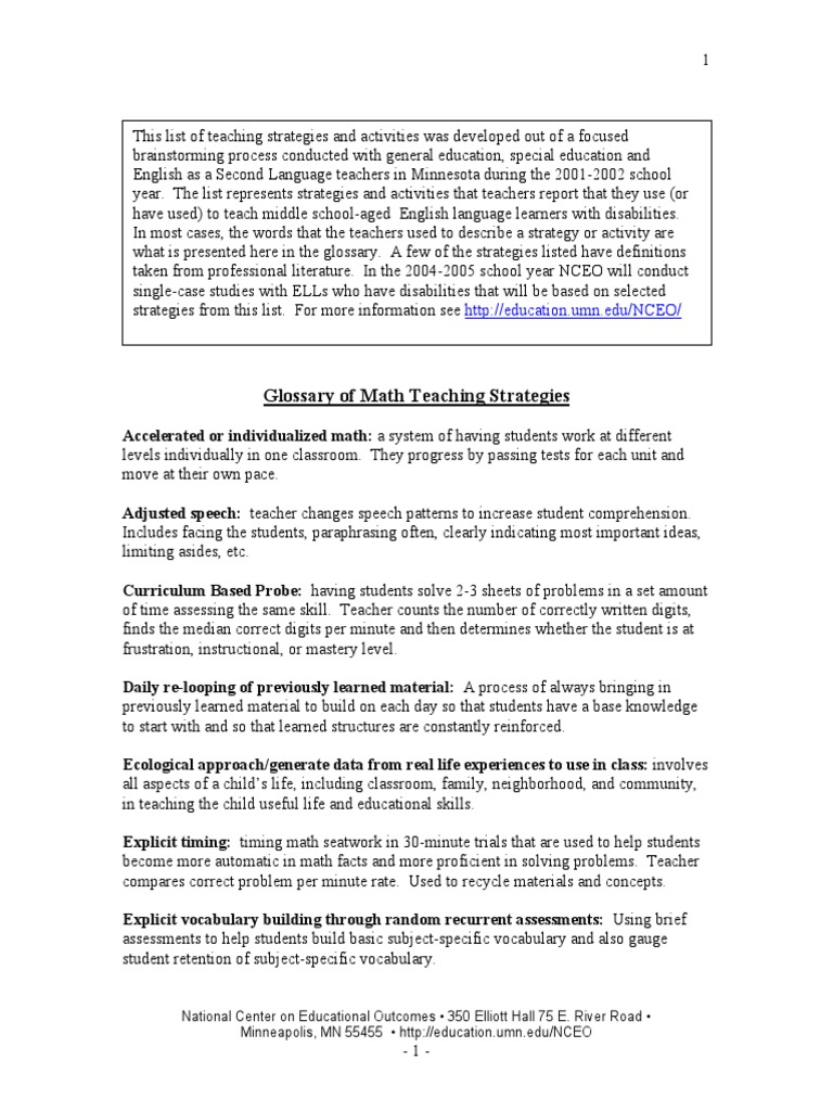 Math Strategies Glossary Handout Reading Comprehension English