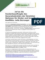 Offener Brief an die Sonderbeauftragte des UN Generalsekretärs für Kinder und bewaffnete Konflikte, Leila Zerrougui