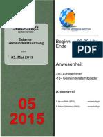 Eslarner Gemeinderatssitzungen, Mitschrift vom 05.05.2015